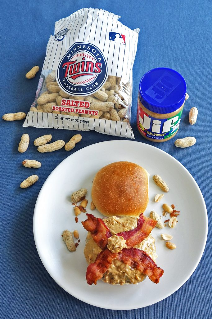The peanut butter burger is a gooey, but delicious mess. This burger is topped with peanut butter, bacon, and mayo.