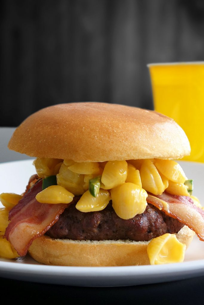 The mac and cheese burger - topped with bacon and jalapeño mac & cheese!