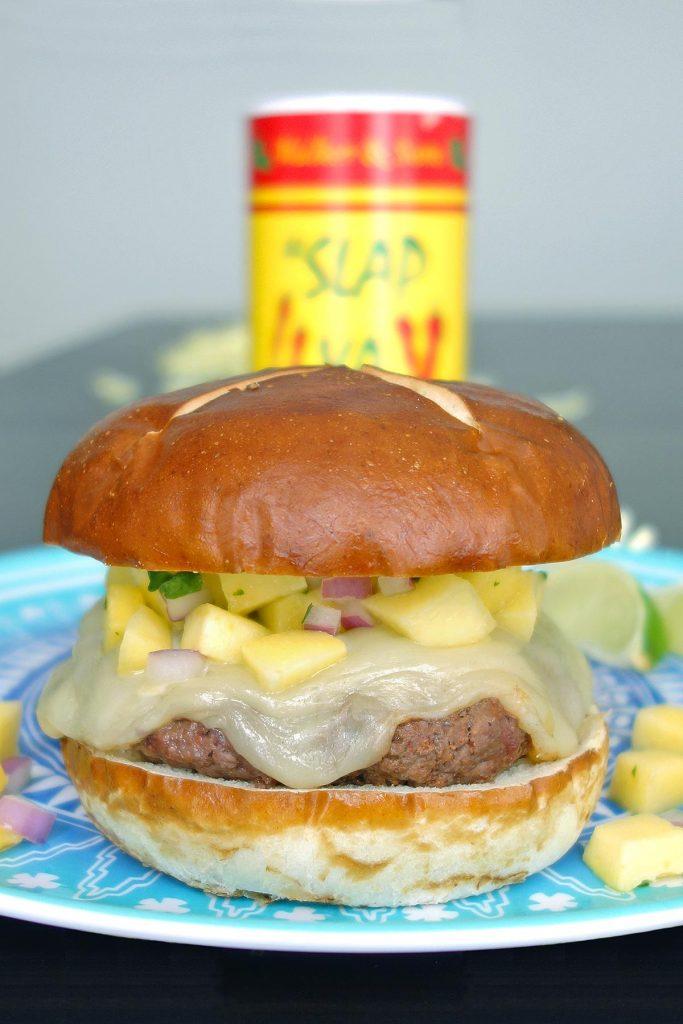 The Islander Burger combines sweet mango salsa and spicy cajun seasoning.
