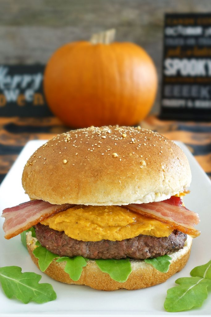 The Pumpkin Spice Burger is topped with pumpkin aioli and maple bacon. You won't want to miss giving this awesome fall burger a try!