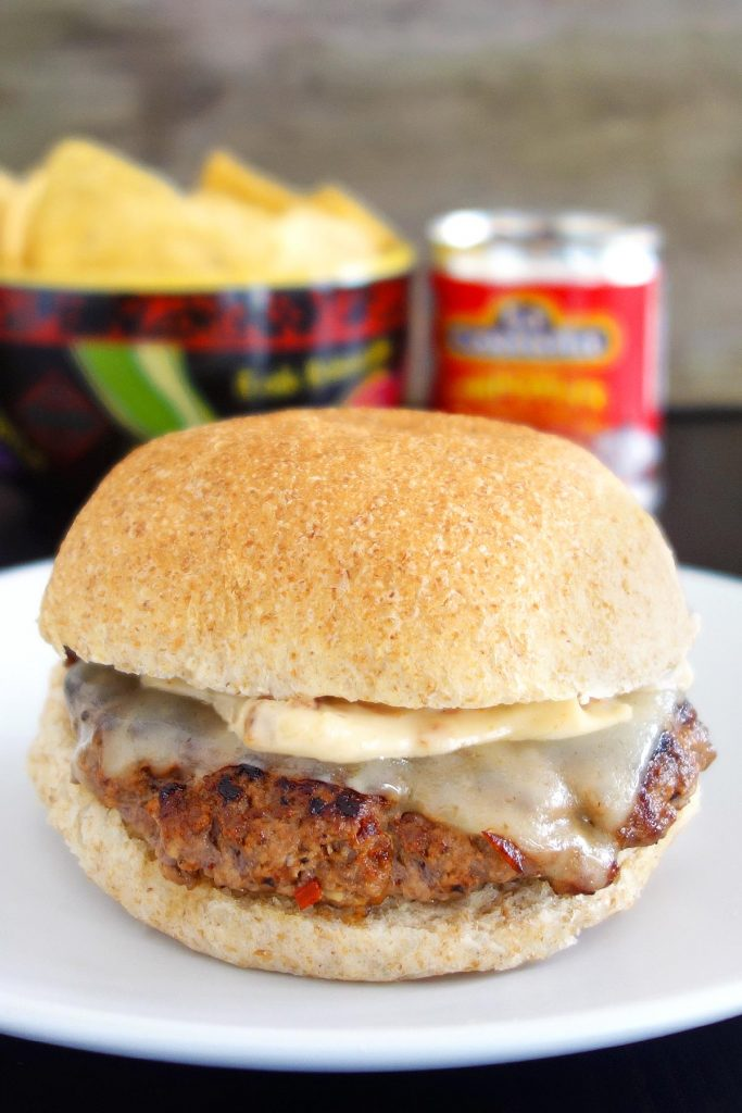 The chipotle burger - stuffed with chipotle peppers & topped with chipotle aioli