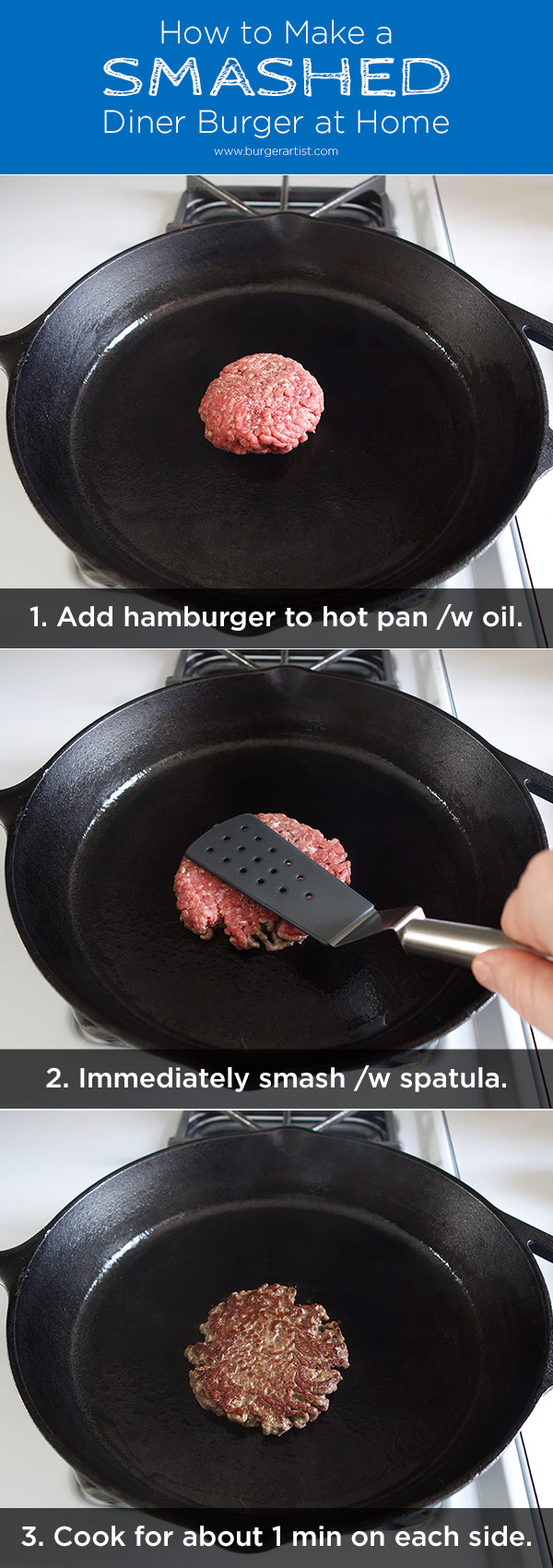 3 easy steps to making a smashed diner burger recipe in your home kitchen.